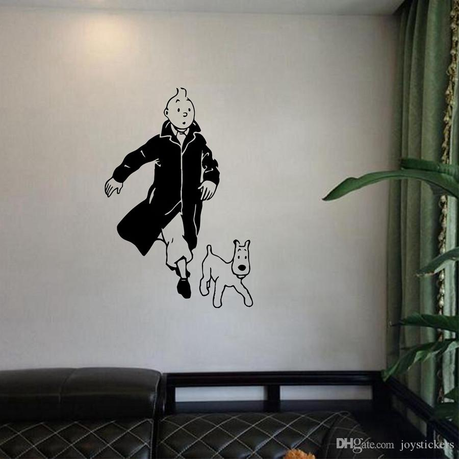 Tintin With Dog Cartoon Vinyl Wall Sticker Children S Room