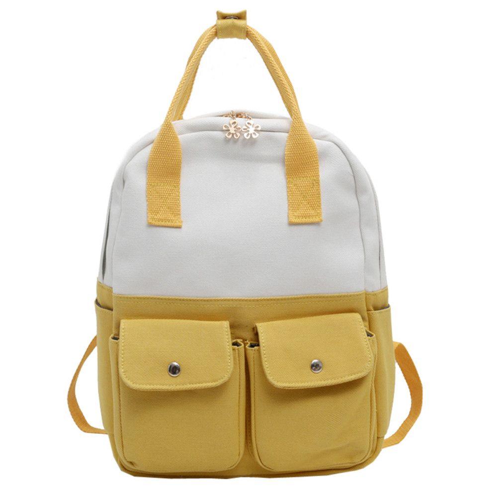 003d9ae2f9 Fashion Women Students Canvas Hit Color Shoulder Bag School Bag Tote  Backpack Zipper Backpack Fortnite S Mujer  75 Black Leather Backpack  Backpacks For ...
