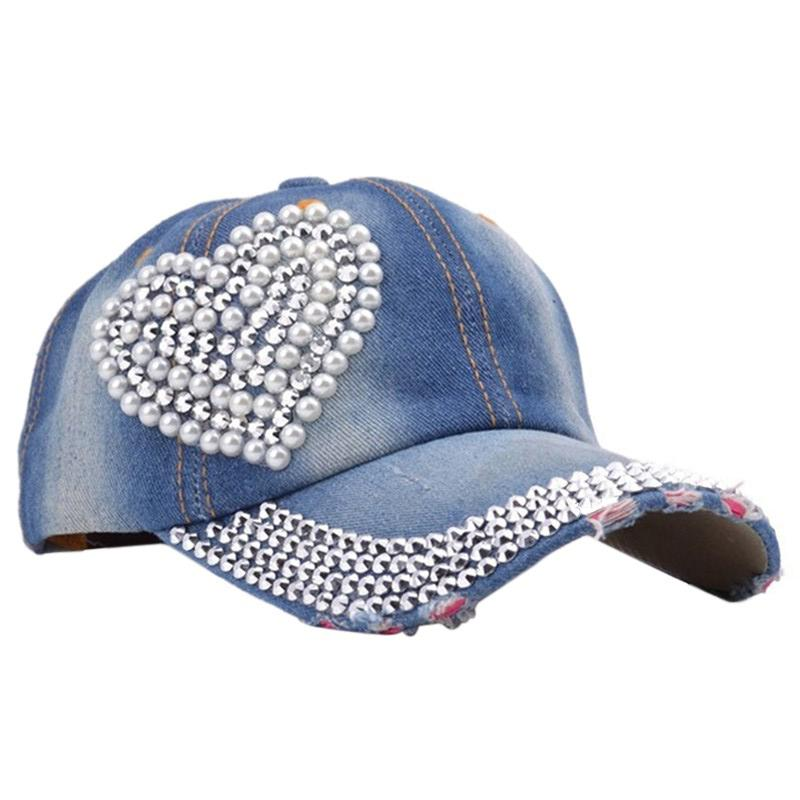 New Women s Rhinestone Studded Baseball Cap Visor Denim Tennis Hats Dark  Blue Compton Cap Baseball Caps For Women From Huteng daf56449e00