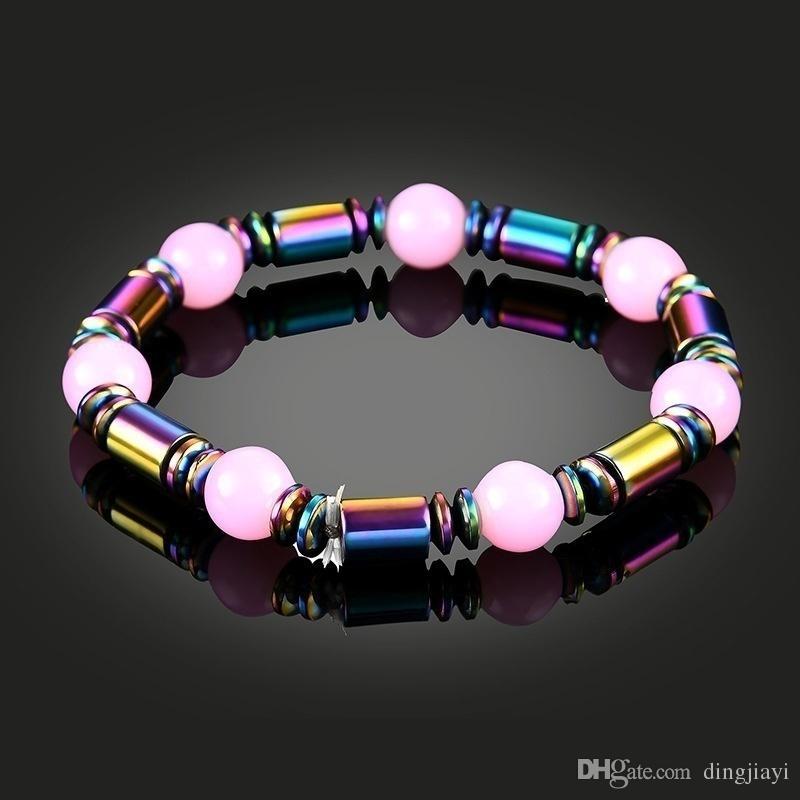 الصحة الحجر الطبيعي مطرز سوار المرأة سحر الشاكرات مجوهرات الوردي سوار الهيماتيت الإشعاع
