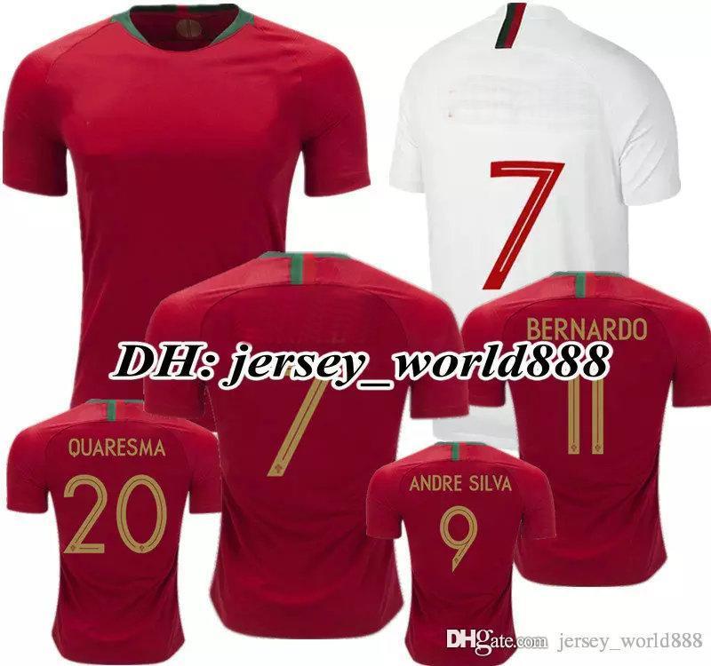 new product cdd4e e5453 TOP QUALITY CR7 jersey soccer CR Home Away 2018 World Cup J.MOUTINHO ANDRE  SILVA Long sleeve BERNARDO QUARESMA 2019 Football Shirt