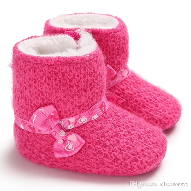 df2132201fb9 Winter Baby Cute Bow Boots Soft Plush Ball Booties For Infant Girls Anti  Slip Snow Boot Keep Warm Cute Crib Shoes 0 18M Girls Cowboy Boots Size 1  Toddler ...