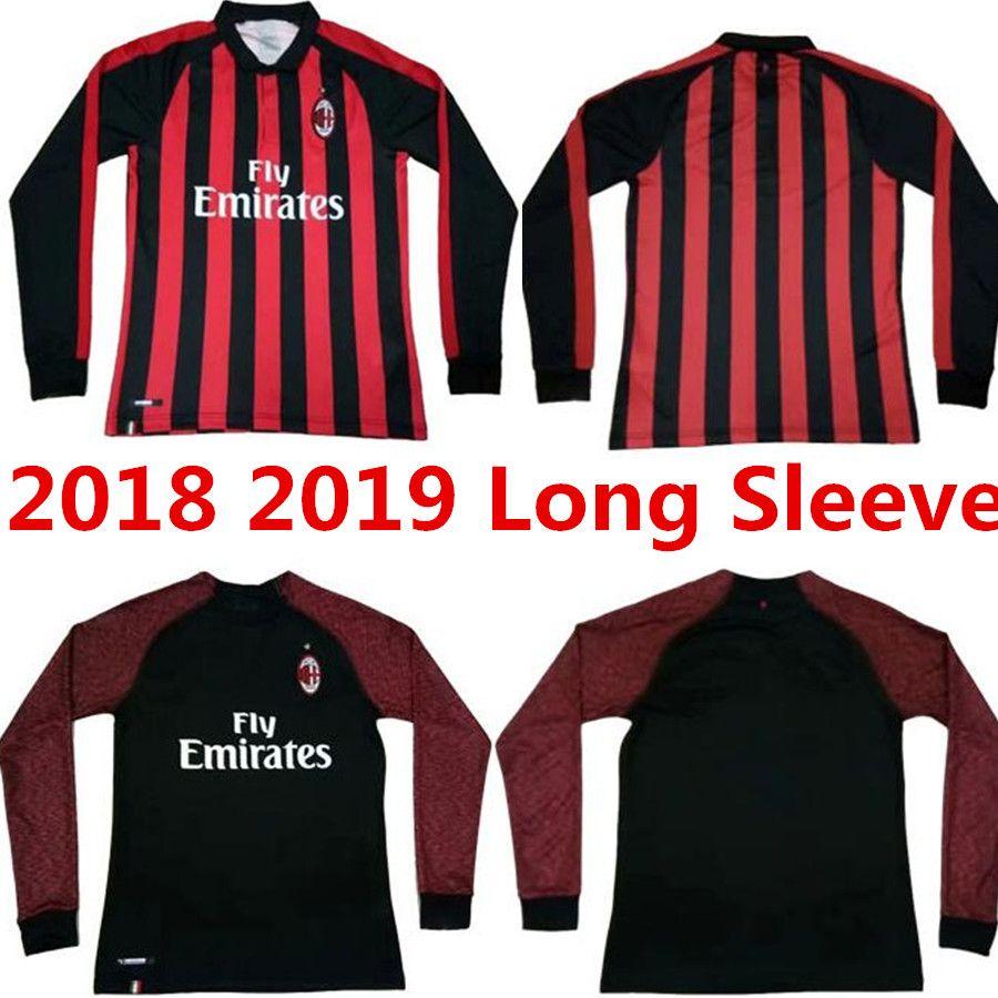 9 HIGUAIN 2019 AC Milan Camiseta De Fútbol De Manga Larga Para Casa 18 19    10 CALHANOGLU   8 SUSO   5 BONAVENTURA   63 CUTRONE Uniforme De La  Camiseta ... 78be18c7202e0