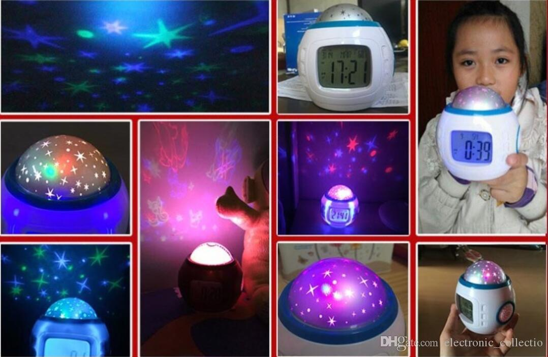 Colorful Music Starry Elf projection Star Sky Projection projector with Alarm Clock Calendar Thermometer Christmas Night light