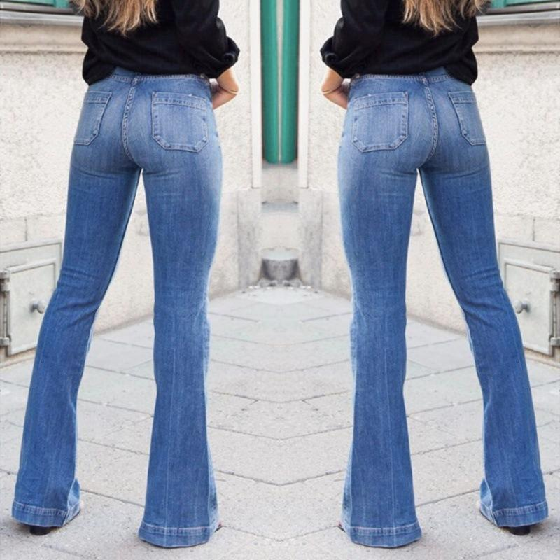 4c96ae1b415 2019 Casual Office Lady Flare Jeans For Women Fashion Stretch Patchwork High  Waisted Wide Leg Jeans Vintage Denim Pants Plus Size From Sadlyric