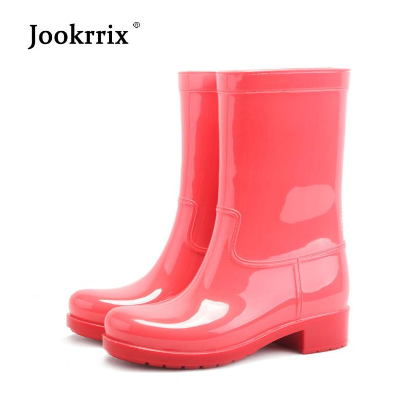 5576e4d4a063 Jookrrix Autumn Adult Girl Rain Boots Women Anti Slip Waterproof Water  White ShoeS Winter Mid Calf Boots Warm Wellies Boot Lady Buy Shoes Online  Suede Boots ...