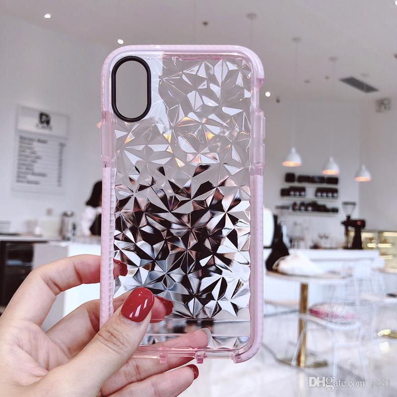 b70070ca Funda con patrón de diamante 3D para iPhone 6 6s 7 8 Plus Lite Funda a  prueba de golpes transparente con luz de agua Lite para Iphone X XS Max