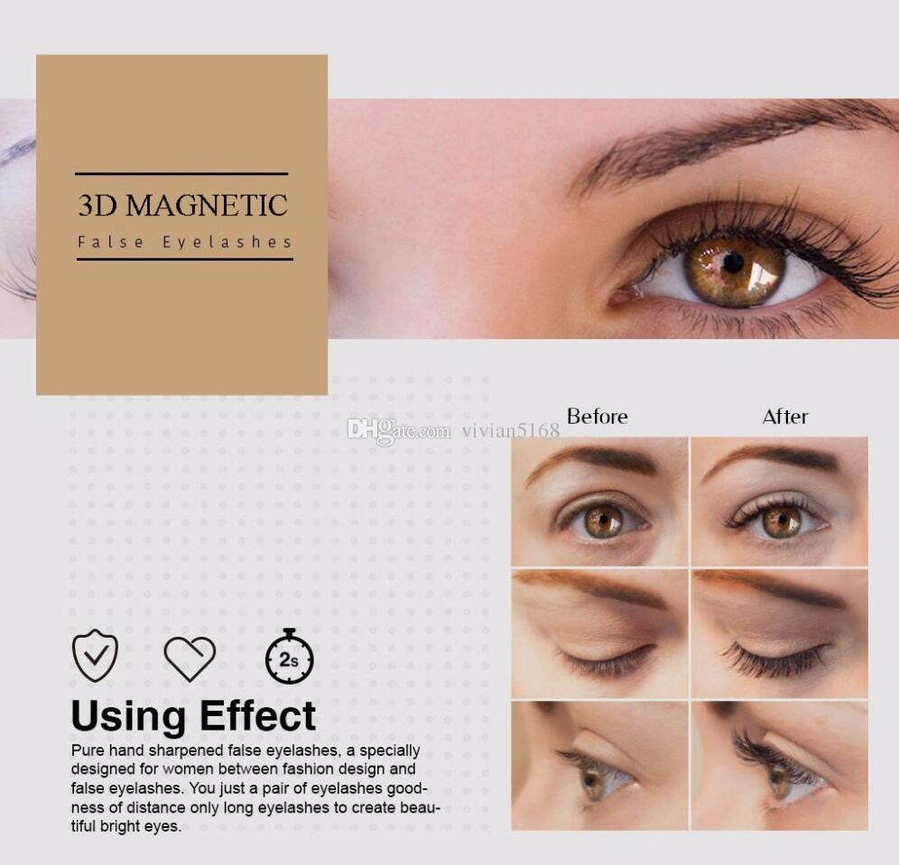 3 Magnetic Eye Lashes 3D Mink Reusable False Magnet Eyelashes Extension 3D Eyelash Extension Three Magnetic Eyelashes set
