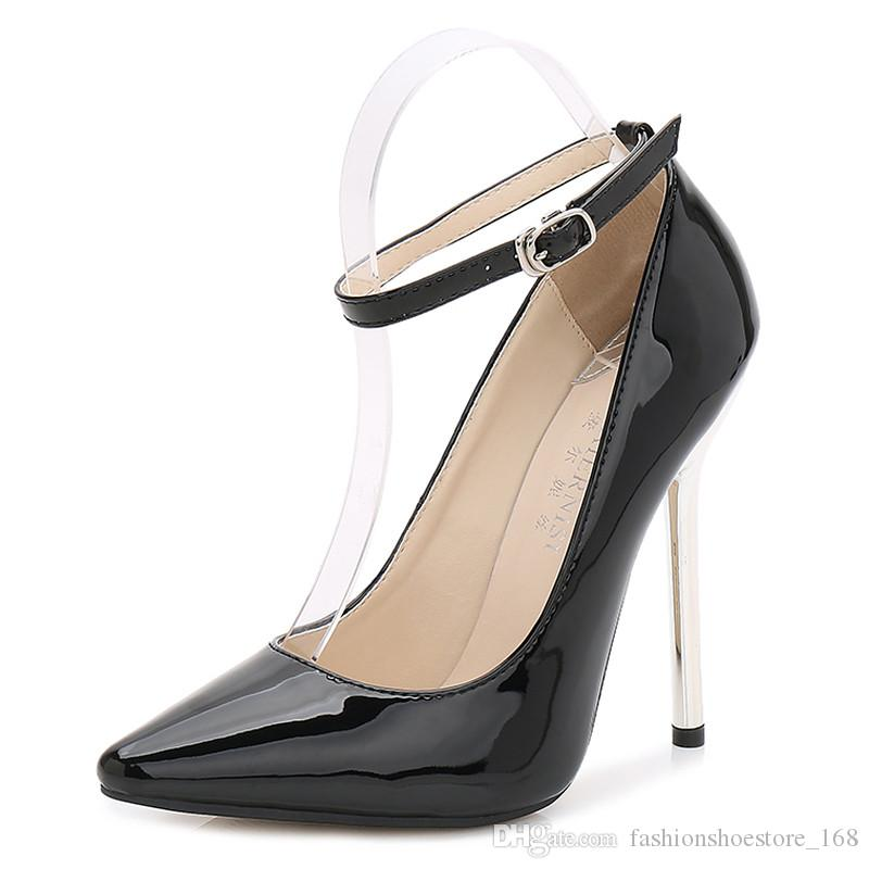 b73bb4cc6510 Sexy Women Thin High Heels Patent Leather Pumps Women12CM Ankle Buckle Party  Shoes Ladies Pointed Toe Stiletto Heels D Orsay Big Size 35 44 Leather Shoes  ...