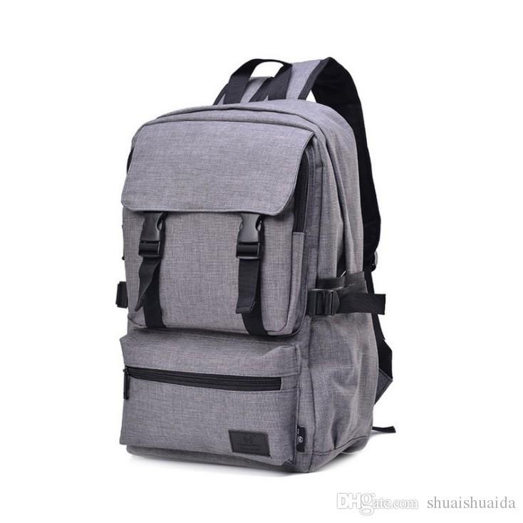 fad42c35be 2018 Computer Shoulder Bag Outdoor Sports Travel Backpack Schoolbag  Knapsack Canvas Pure Color Men And Women School Bags Handbag 20 35L A775 School  Bags For ...