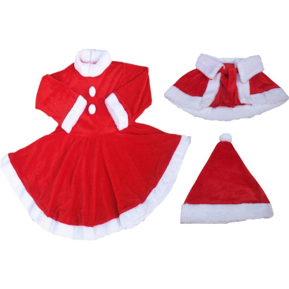 2018 Baby Girls Christmas Clothes Santa Baby Dress Warm Shaw