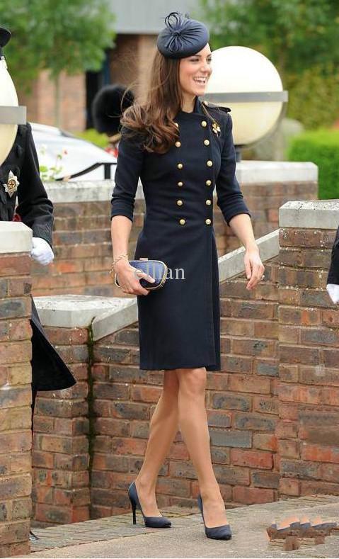 Acheter 2019Laine Double Manteau Princesse Kate Middleton Manteau Couleur  Bleu Blanc Trench De  67.63 Du Machenhao123   DHgate.Com a43b38081075