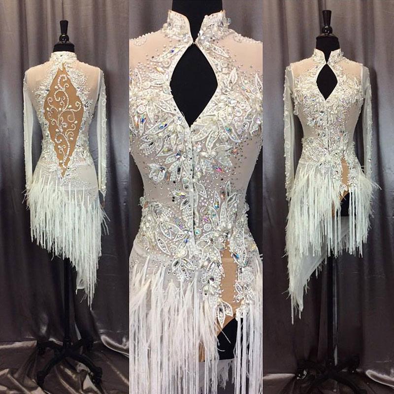 Robe Salon Femmes 2018 Tango Danse Blanche La High Frangé De Latine Pour Col Le f76vIYbgym