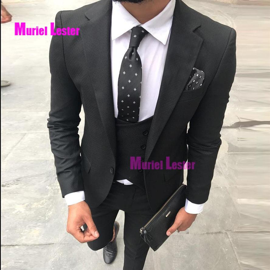 65b0d11a76 2019 Muriel Lester Costume Homme Mariage Black Men Suits For Wedding Custom  Made Groom Suit Ternos Masculino Slim Fit Tuxedo From Macloth, $150.04 |  DHgate.