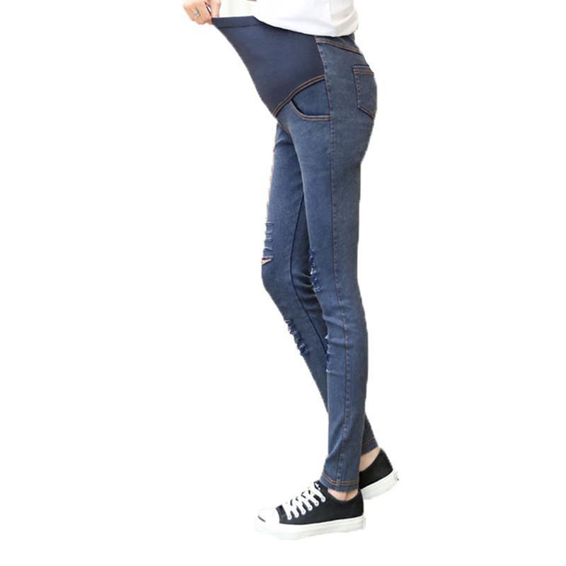 a6c28c0f9 Compre Pantalones De Mezclilla De Maternidad Jeans Embarazo Para Mujeres  Embarazadas Pantalones Vaqueros Agujeros De Corte Ropa De Embarazo  Pantalones Ropa ...