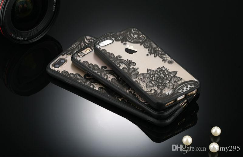 Sexy Retro Floral Phone Case For Apple iPhone 7 6 6s 5 5s SE Plus Lace Flower Hard PC+TPU Cases Back Cover Capa For iPhone7Plus free ship