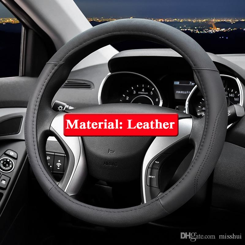 QCBXYYXH 현대 IX25 IX35 IX45 용 자동차 스타일링 Elantra 2016-2018 스티어링 휠 커버 가죽 스티어링 휠 커버 내부 액세서리