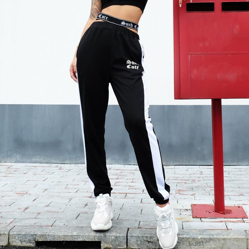 2018 Autumn Joggers Women Silver Striped Sweatpants Ankle Length ... 76c98281df13