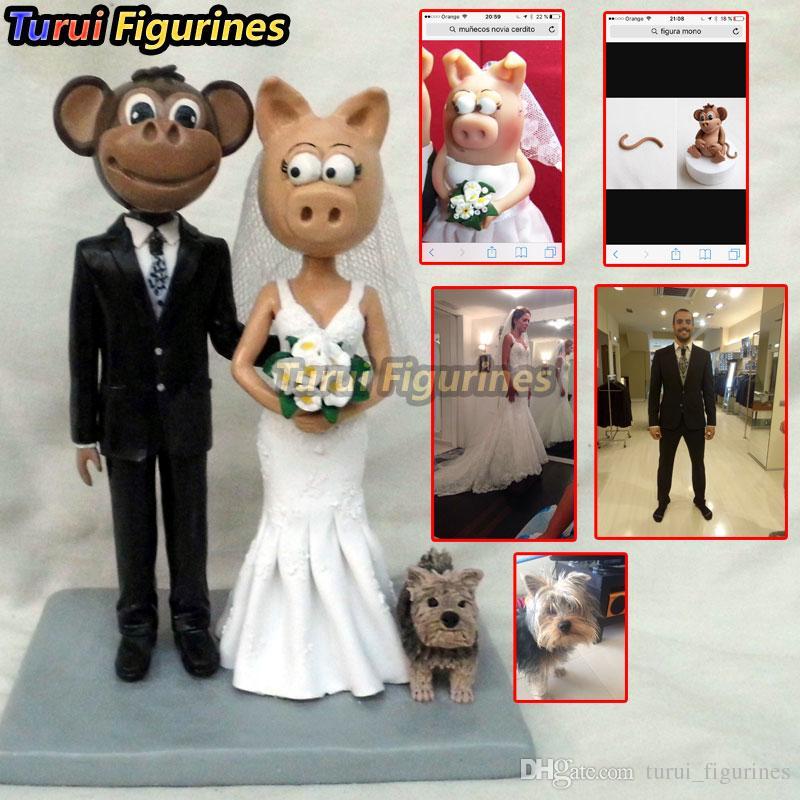 Turui Figurines custom wedding cake topper with dog dollhouse figurine  miniature human face doll baby statue sculpture Woman Bobblehead gift