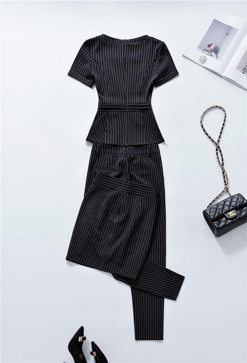 Mode Striped Slim Uniform Designs Formale 2 Stück Hosen und Tops 2018 Sommer Damen Büro Schönheit Sets Hosenanzüge