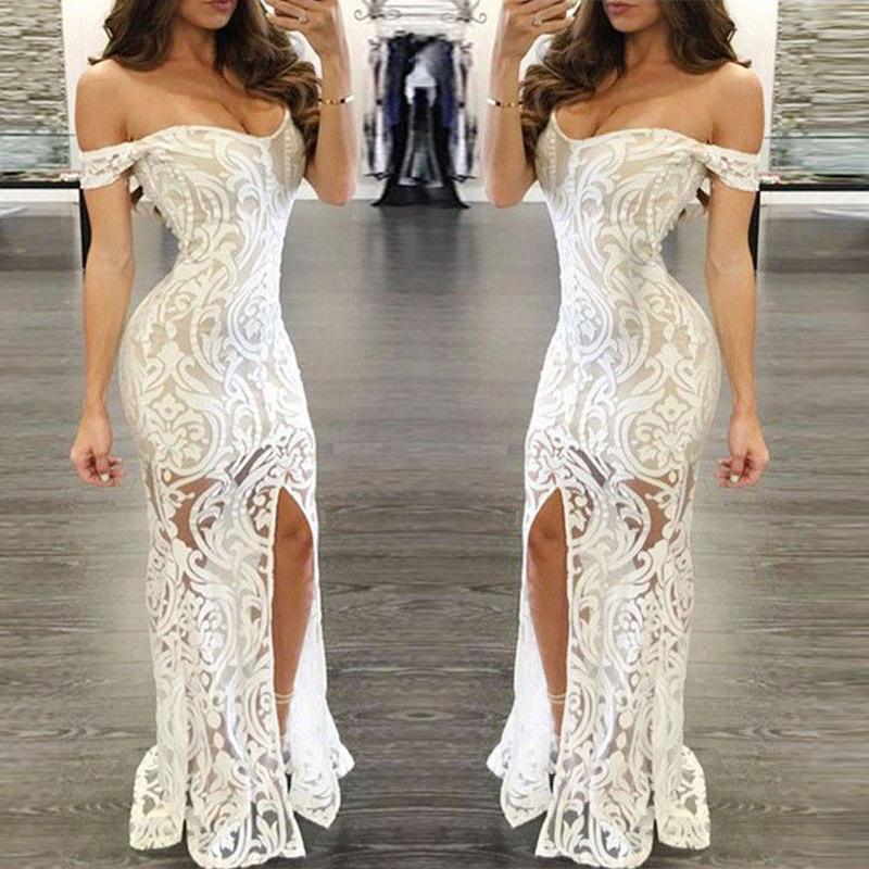 Pour Épaule Patchwork Femmes Hors Dentelle De Vestidos D Longue Robes En Été Féminines Sexy Robe Blanche Soirée gIYf6yvb7