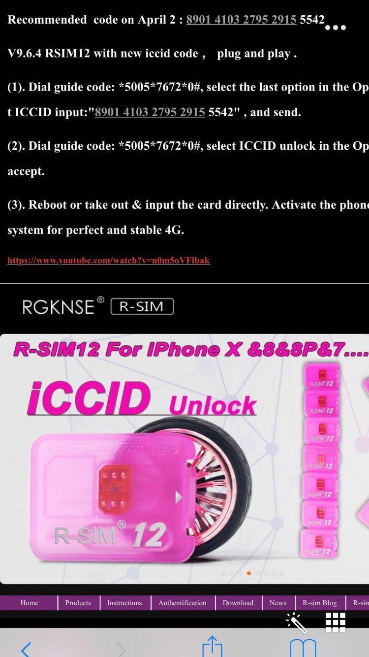 V9.6.7 V9.68 RSIM12 R-SIM12 Auto rsim 12 iccid unlock ios 11.x all cariers Sprint T-MOBILE iphonex 8 7plus i7 6s plus, 6 AU softbank wcdma