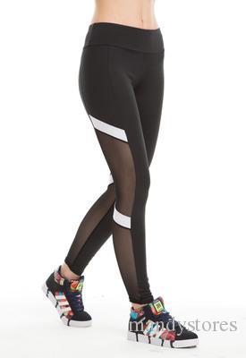 التجفيف السريع صافي غزل اليوغا السراويل السوداء عالية الخصر مطاطا الجري اللياقة البدنية ضئيلة السراويل الرياضية الصالة الرياضية طماق للنساء السراويل