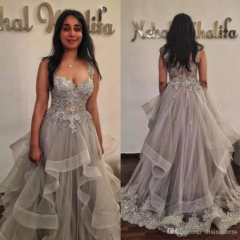 Applique Beaded Sweetheart Prom Dresses A Line Tiered Tulle Formal Prom Dress Celebrity Evening Gowns Plus Size