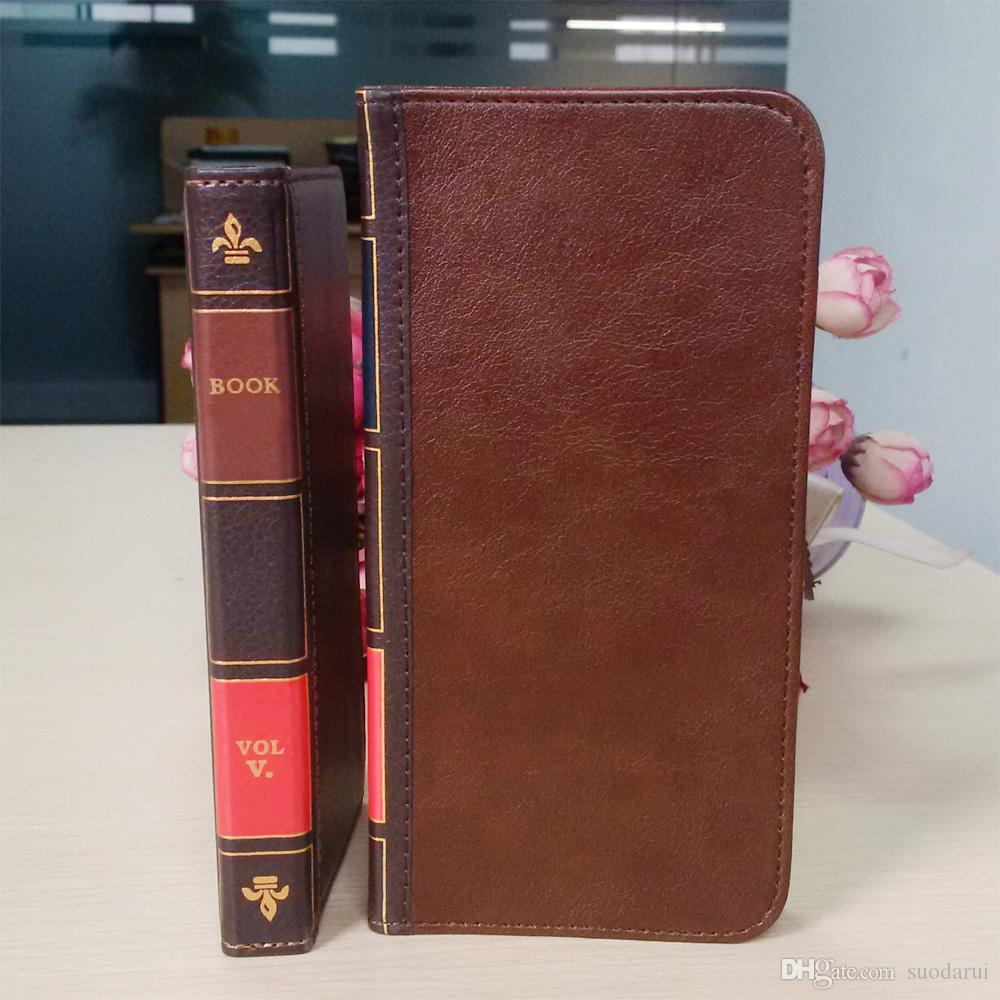 Custodia telefono cellulare Flip in pelle Black Berry key 2 Cover Wallet Retro Bible Vintage Book Business Pouch