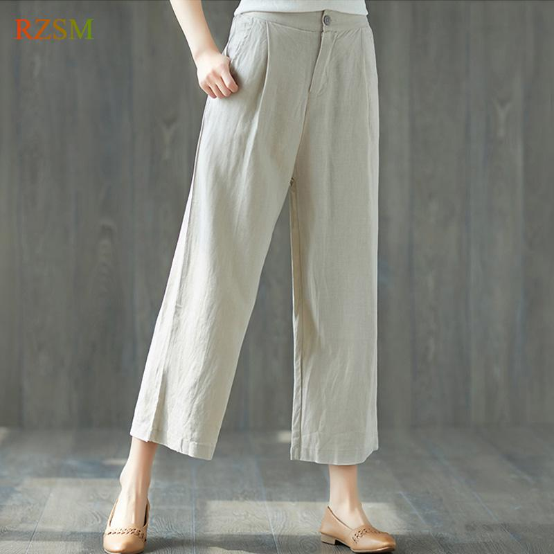 6742f47c9c4993 Women's Linen Pants Spring Summer Casual Trousers Women Solid High Waist  Big Size Loose Thin OL Work Wide Leg Pants Female M-XXL