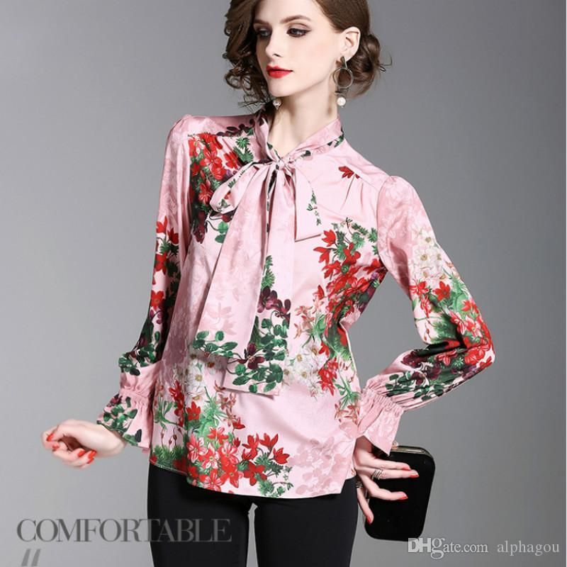 2d807faf69f76b 2019 2018 Spring Long Flare Sleeve Bow Tie Floral Print Satin Shirts ...
