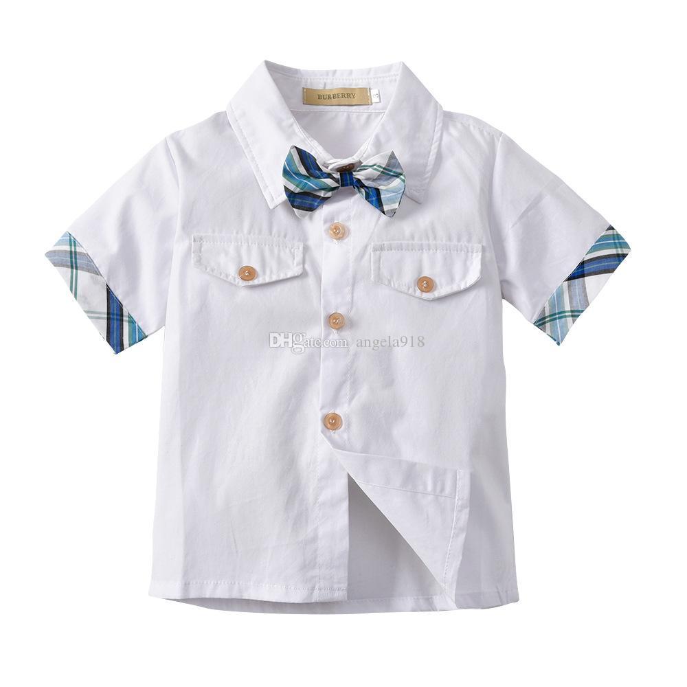 2018 été boutique enfants costume INS garçons gentleman costume hommes noeud papillon chemise à carreaux chemise à carreaux shorts deux pièces livraison gratuite H010