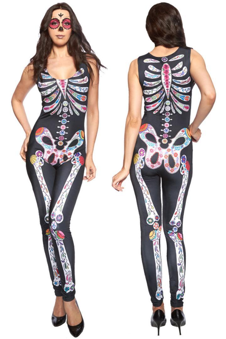 841acf9993e 2018 New Arrival Hot Sell Cheap Luxury Sugar Skull Adult Womens Halloween  Catsuit Costume GY8854 Hot Sale