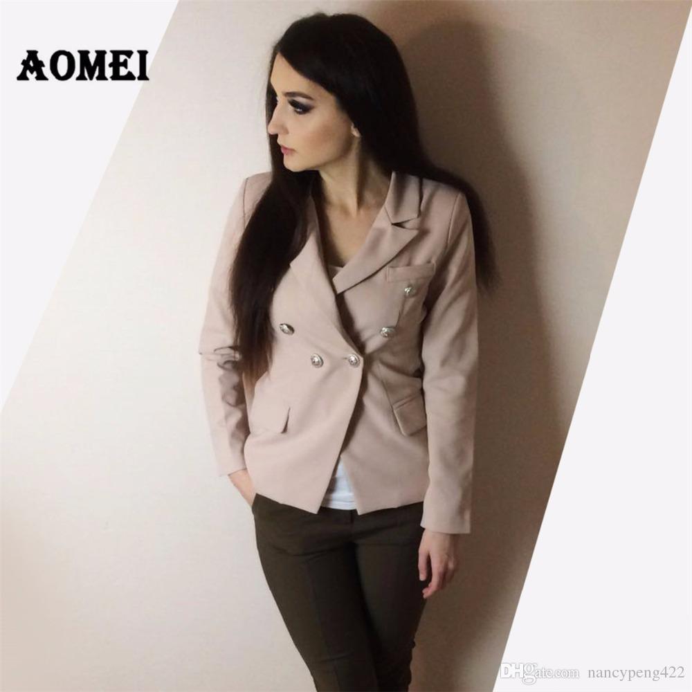 Rosa Blazer Jacken tragen, um zu arbeiten Büro Dame Tops Kleidung Herbst Frauen neue Schaltfläche Design Blasers 2018 Frühling Sommer Mode Mantel Chaquetas