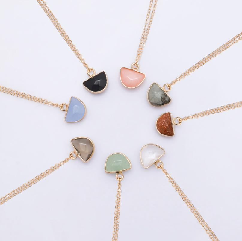 Natural Stone Pendant Necklace Women Luxury Jewelry Green Aventurine Purple  Gray Black Yellow White Rose Quartz Crystal Necklace
