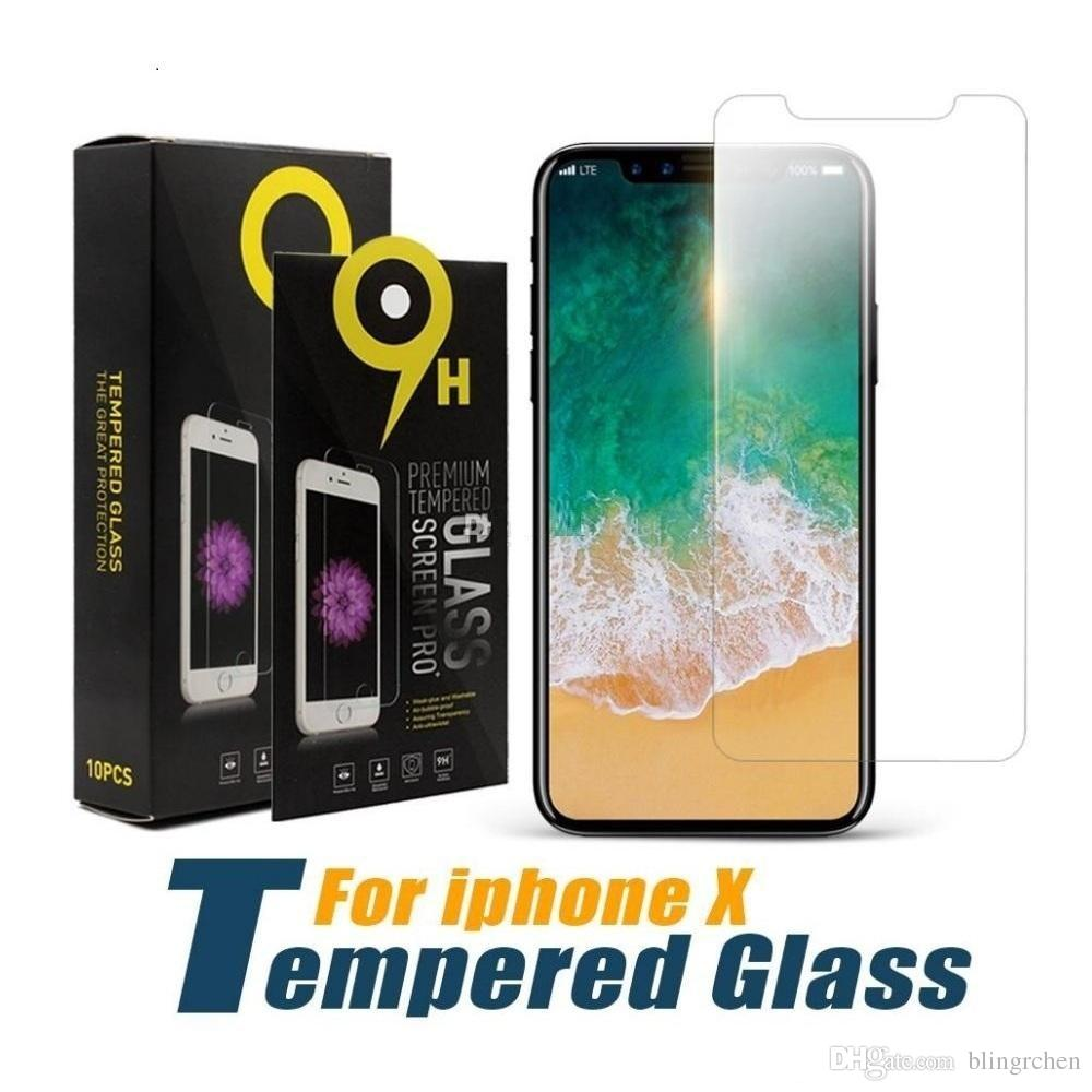 2mm 9H tempered glass For iphone XS Max XR 8 6s 7 plus screen protector protective guard film case cover+clean kits