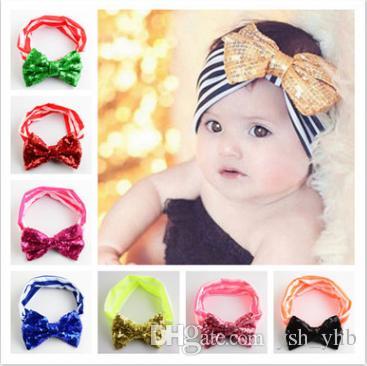 Compre Meninas Do Bebê Listrado Turbante Faixa De Cabelo Crianças  Lantejoulas Arco Headband Crianças Natal Headwear Fotografia Adereços  Acessórios Para O ... 9d6ba097cc2a