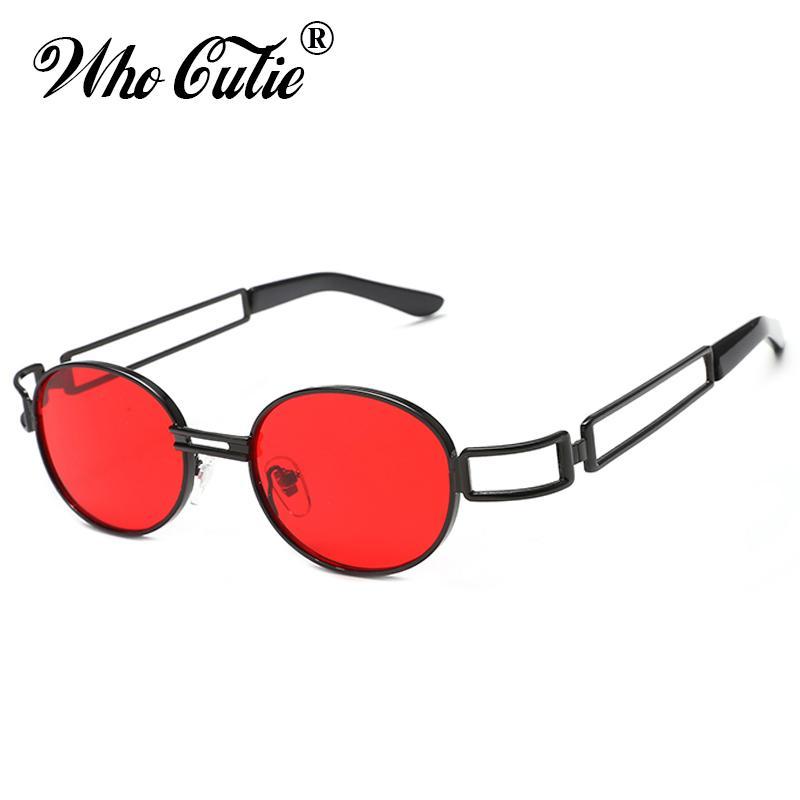 7900b66712386 Compre OMS CUTIE 2018 Vermelho Pequeno Oval Óculos De Sol Das Mulheres Dos  Homens Da Marca De Moda Steampunk 90 S Vermelho Óculos De Sol Do Vintage  Retro ...