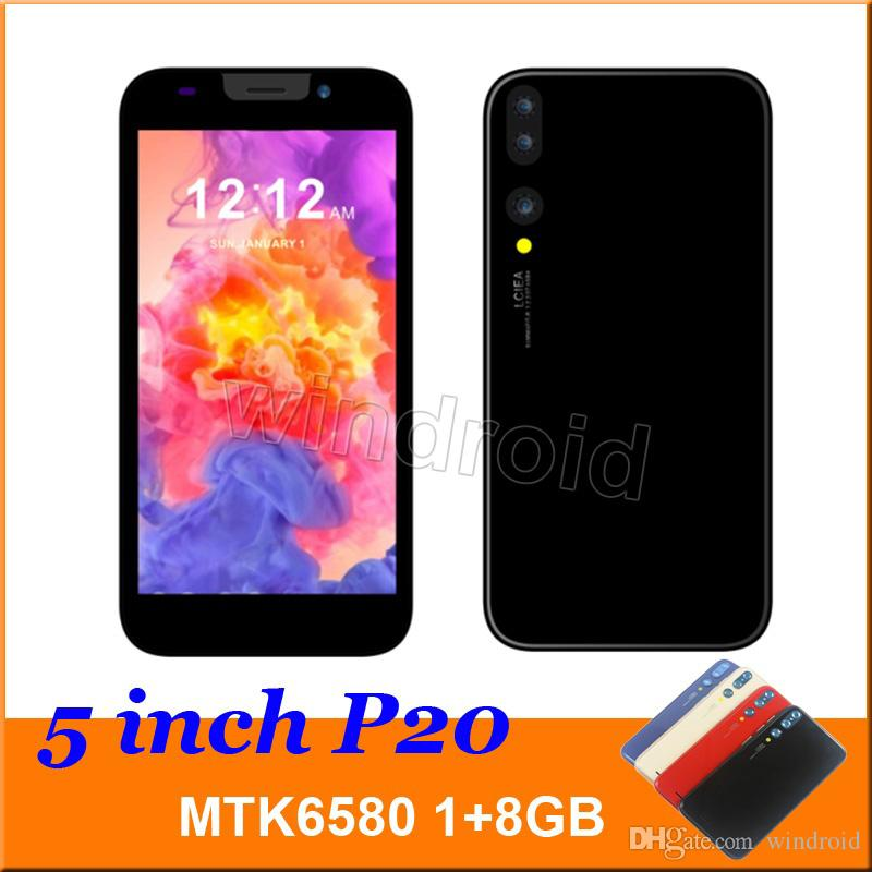 5 inch P20 Smart Phone MTK6580 Quad Core 1G 8GB Android 6.0 3G WCDMA Unlocked Dual SIM Camera 5MP Mobile phone face unlock Mobile 10pcs
