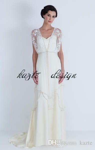 Abiti da sposa vintage anni '20 Catherine Deane Lita con maniche 2018 Modest Fairy Lace Chiffon con scollo a V intera lunghezza abito da sposa