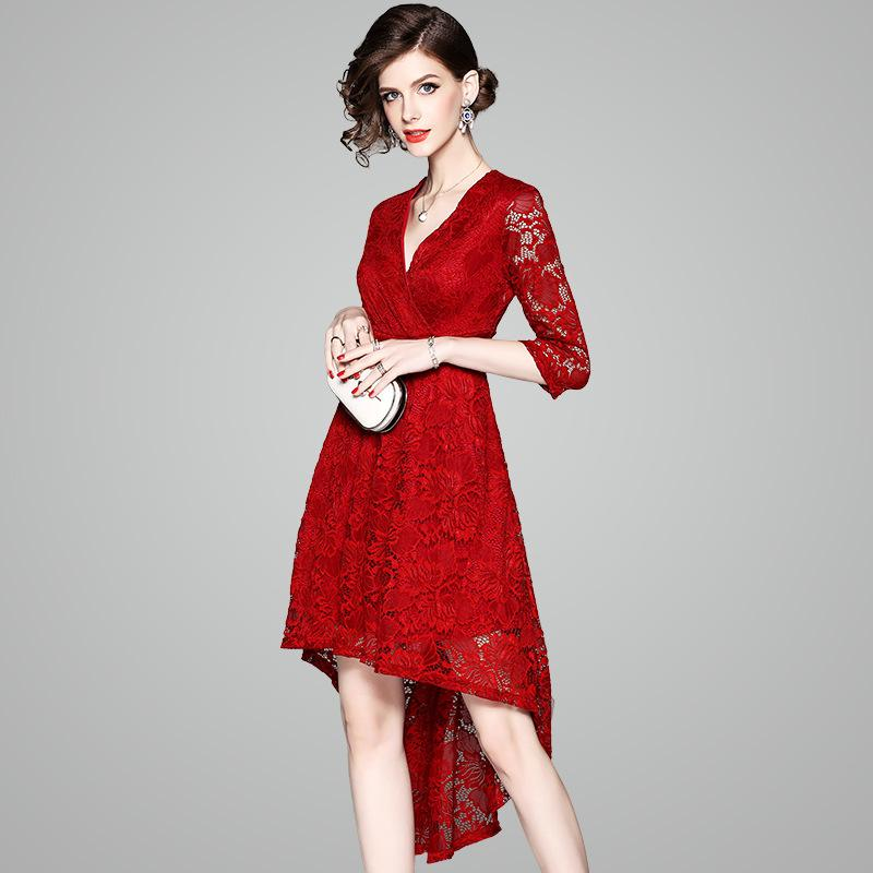 2018 High Low Homecoming Party Cocktail Dress Women Red Semi Formal