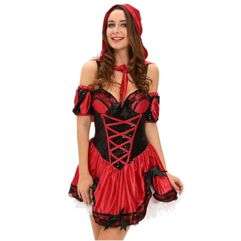 Fantasias Sexy Ropa Erótica Juego de Rol 4 unids Miss Red Riding Hood Costume Mujeres Deguisement Adultes Femme Halloween LC8977