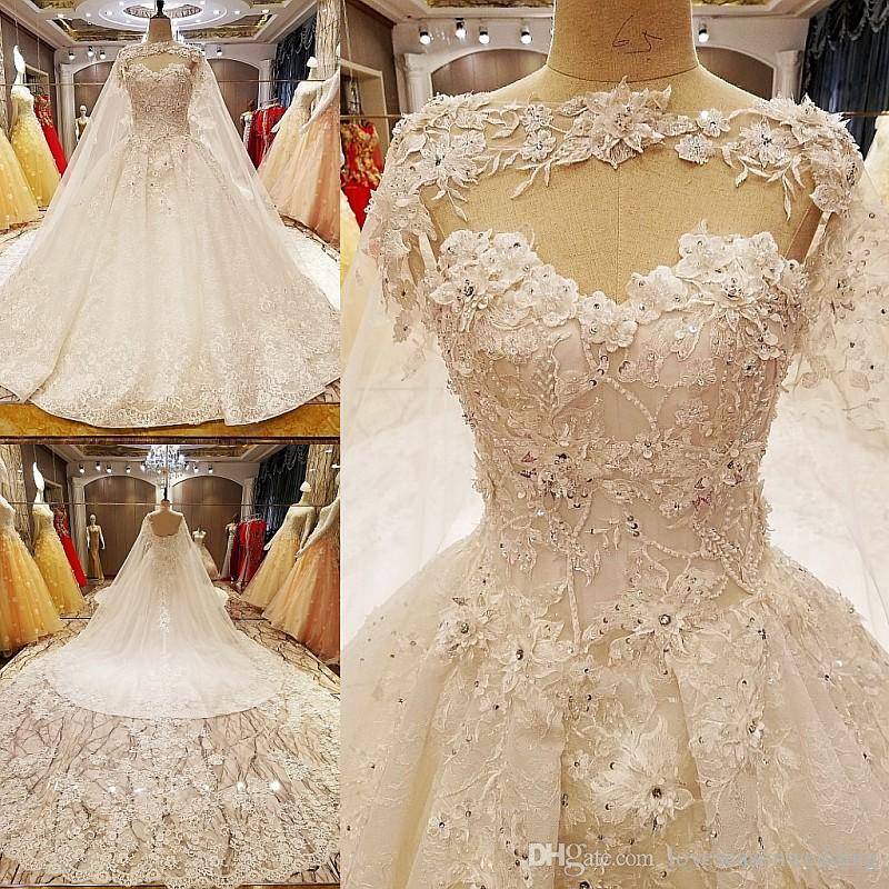 LS7051 Wedding Dresses Germany Beading Ball Gown Lace Up