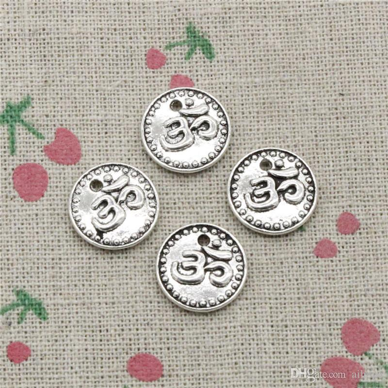 76pcs Charms double sided yoga om 15mm Antique Silver Pendant Zinc Alloy Jewelry DIY Hand Made Bracelet Necklace Fitting