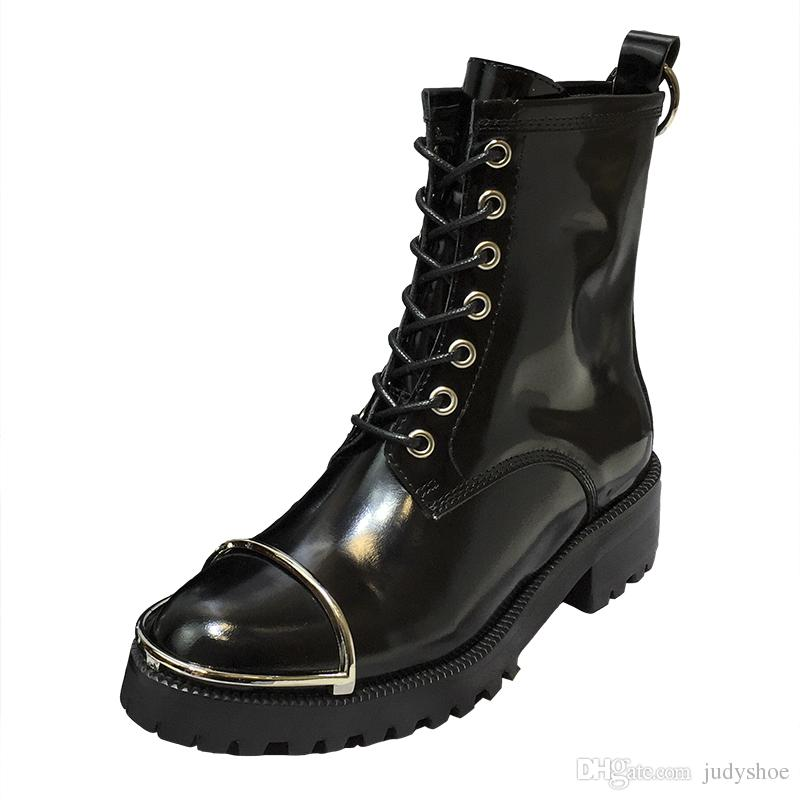 5a09dd6e352f5 Newest British Martin Boots Genuine Leather Platform Thick Bottom Low Heel  Motorcycle Boots Brand Design Metal Ring Ankle Booties for Women Martin  Boots ...