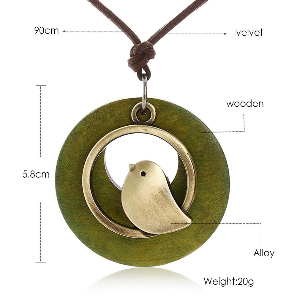 1 UNIDS declaración de la joyería de la mujer collares colgantes Pájaro de madera Del Grano del colgante de la vendimia collar colgante Largo regalo de las mujeres chrismas