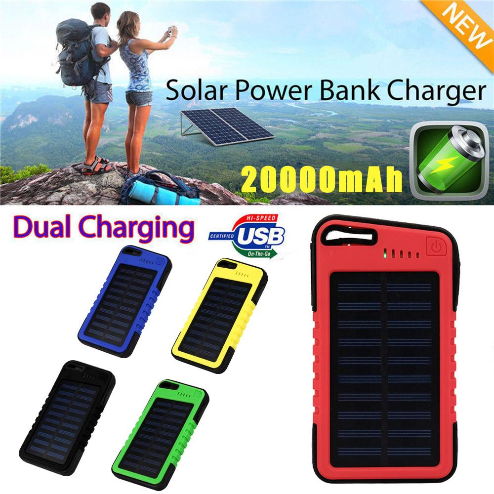 Caricabatteria solare Dual-USB da 20000mAh Power Bank per cellulare per Iphone 6S e 6S Plus per Samsung Huawei