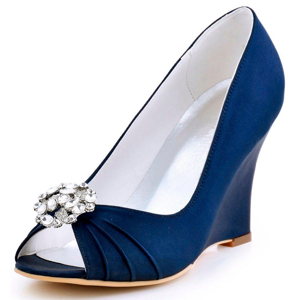 0a119882bf9 Compre Mulheres Saltos De Cunha Bombas De Casamento De Noiva EP2009AH Marinha  Azul Peep Toe Strass Cetim Dama Da Dama De Honra Vestido De Noiva Da Dama .