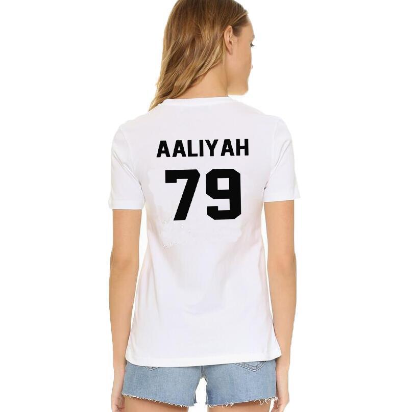 62c449a3174 Women S Tee Aaliyah Letters Print T Shirt Women Casual Wild White   Black O  Neck Tshirt Tops 2017 Summer Tee Shirt Femme Camisetas Mujer Long Sleeve  Shirt T ...