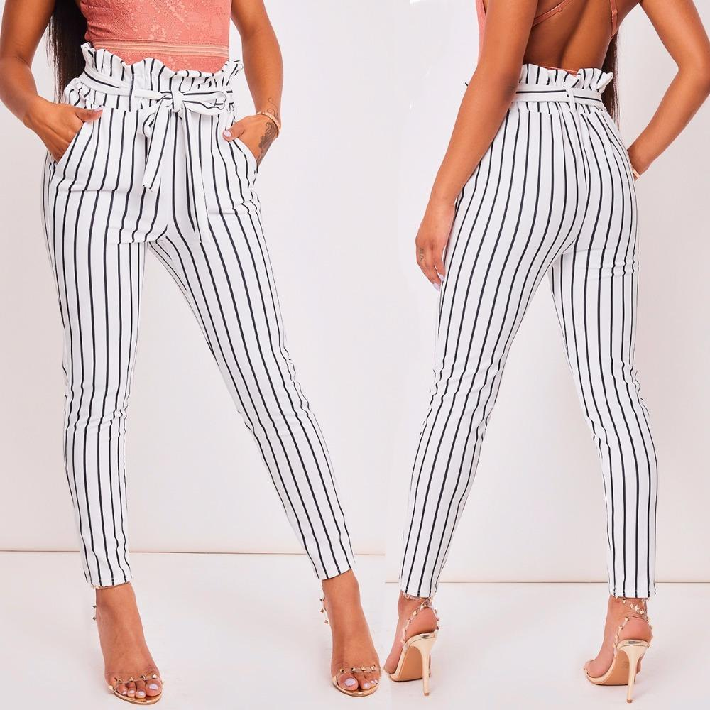 6f52d4584d3 2019 2018 New Fashion White Striped Print Trousers Nine Pants Drawstring  Skinny Slim Casual Pants Work Office Women Clothing From Hengda999, $6.04 |  DHgate.